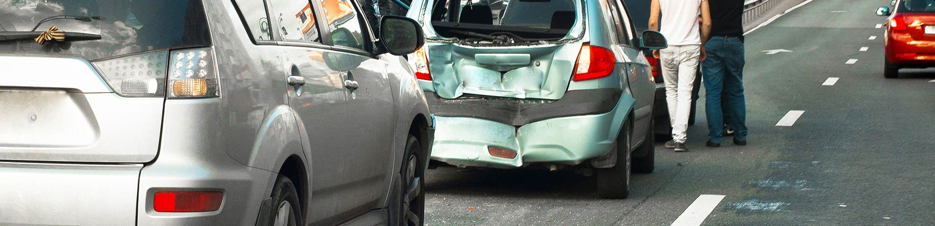 A rear-end collision car accident.